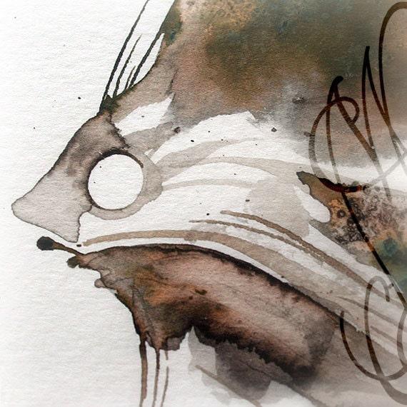 "Martinefa's Original watercolor and Ink, presented in hand personalised frame - ""Fish #1"""