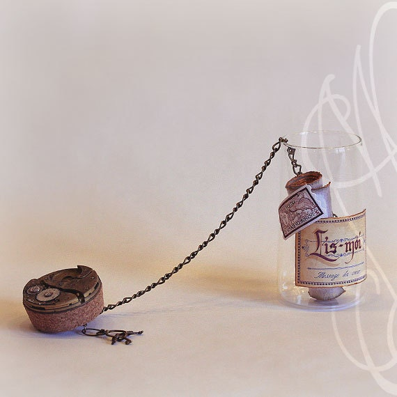 "Romantic message presented in hand personalised steampunk bottle - Message-B - ""Tu vas être grand-père"" In French"
