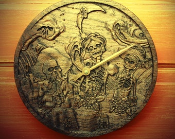 Thermometer - El Dia de los Muertos - wood carving with skeletons, flowers, moon and ghost spirits