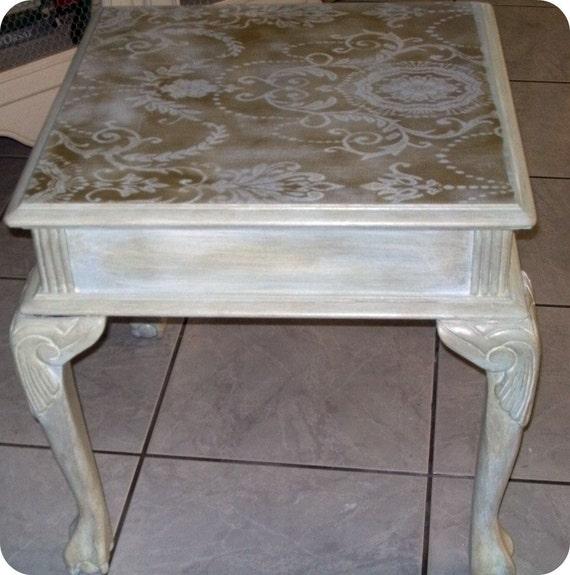 Gold Shabby Chic Coffee Table: Shabby Chic Lace Stenciled Side Table By CoastalFarmhouz