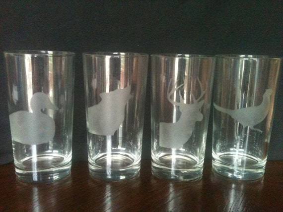 wildlife etched drinking glasses set of 4