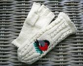Fingerless Convertible Hand Knitten Mittens in White with Cute Bird application