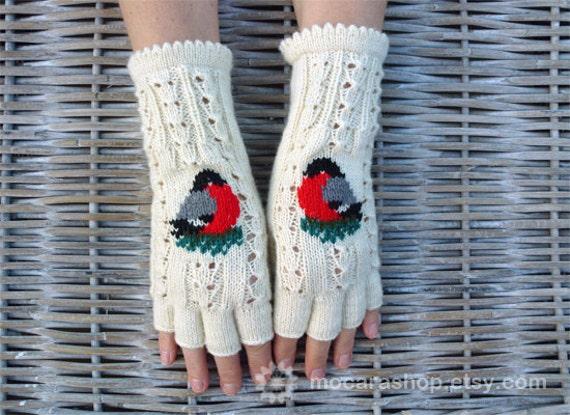 Hand Knitten Soft Fingerless Mittens in White with Cute Bird application