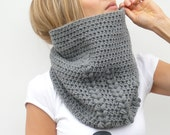 Reserved for mimi019 - Crochet Cowl Scarf Neckwarmer in Grey