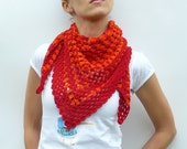 Crochet Shawl Scarf in Red and Orange - OOAK