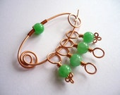 Knitting Stitch Markers With a Marker Keeper Shawl Pin - Jade Green Glass Beads and Copper Wire - Set of 4