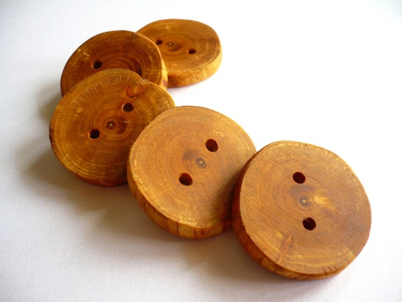 Big Wooden Buttons - Plum Tree Branch Buttons - Set of 5