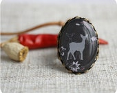 Silhouette Deer Ring - branches, tree, brown, gift for her - Free shipping / R06 - SecretFind