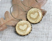 Heart earrings - vintage lace, beige, autumn, bridesmaids jewelry - Free shipping etsy