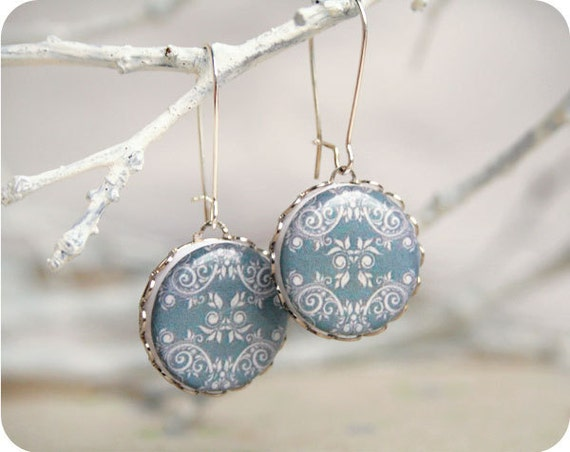 Victorian style earrings - Victorian jewelry - tribal geometric earrings - black, lace, bridesmaids jewelry - Free shipping