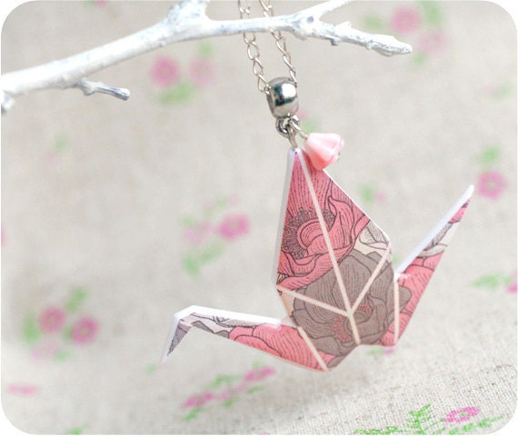 Origami  necklace  - beautiful Japan - free shipping - rusteam, oht
