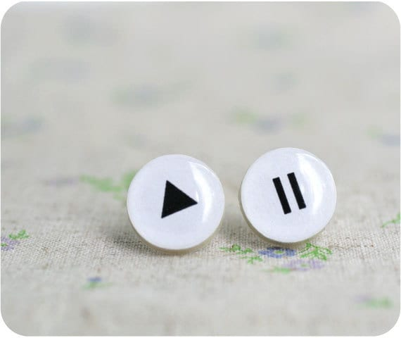 Play and Pause earrings - musical gift - gift for her - Free shipping