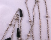 Art Deco Modernist Silver and Onyx Belcher Chain