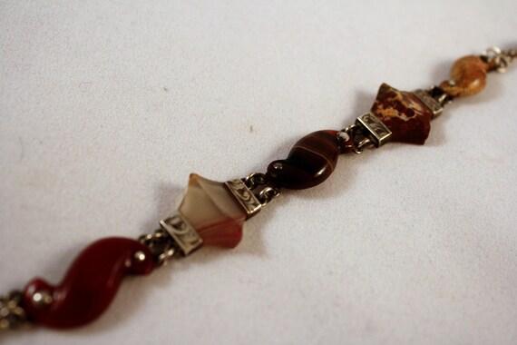 Superb Victorian Sterling Silver Scottish Agate Bracelet c.1880