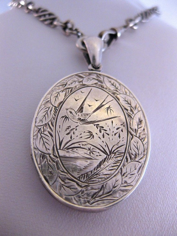 Superbly Engraved Silver Victorian Aesthetic Locket 1881