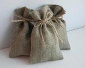SET OF 150 Eco Rustic Linen Wedding Favor Bag  or Gift Bag 3x5 with twine