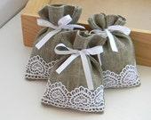 SET OF 10 Natural Rustic Linen Wedding Favor Bag or Candy Buffet Bag or Gift Bag