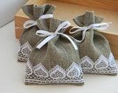 SET OF 50 Natural Rustic Linen Wedding Favor Bag or Candy Buffet Bag or Gift Bag