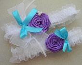 Set Bridal Wedding  White  Garter with purple rose and aquamarine bow