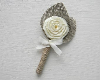 Set of 5 Ivory Flower burlap Boutonniere
