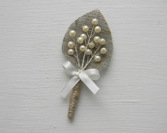 Set of 12 Ivory sprig pearl burlap Boutonniere