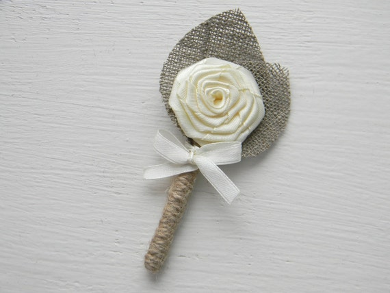 Set of 10 Ivory Flower burlap Boutonniere - Groom boutonniere for wedding
