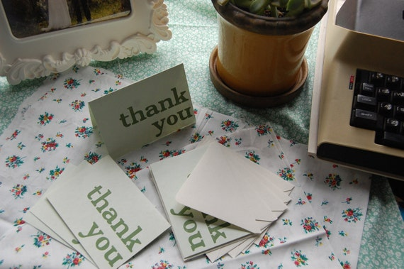 5 Letterpress Green Thank You Cards - Stationery - Green Cards with Cream Envelopes - Blank Inside