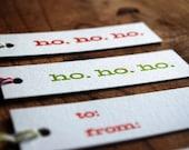 Letterpress Christmas Gift Tags - Set of 10