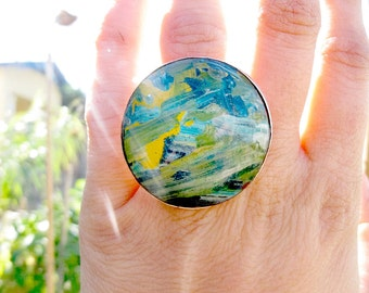 Handmade Cabochon Ring - Sterling Ring -  Resin Ring - Ring Size 5 - 100% Recycled Sterling Silver - Eco Jewelry - Green Blue Ring