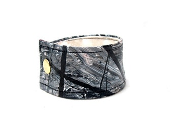 Tonal Grey and Black Mans Cuff Bracelet - Wide Wrist Band - Medium Size - Masculine Guys Fashion - Made with Organic Hemp Material and Paint