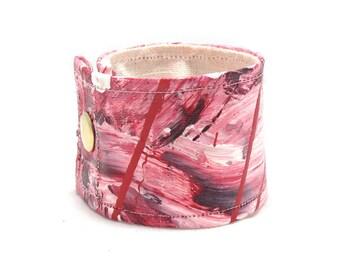 Candy Pink Cuff Bracelet - Small Feminine Cuff - Pretty in Pink Bracelet - Pink Wrap - Wrap Bracelet - Hemp Bracelet - Hemp Cuff - Painted