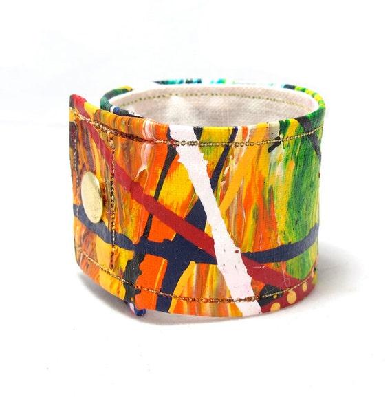 Organic Hemp Wrist Band - Orange and Green Cuff Bracelet Medium -Sustainable Hemp Fiber - Eco Friendly Summer Accessory for Men and Women