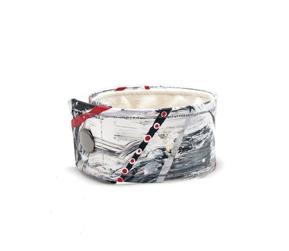 Grey Mens Organic Hemp Bracelet - Black, White, Gray and Red Colored Wrist Band - Large Size - Made with Sustainable Materials, Eco Friendly