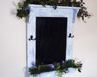 Chalkboard Shabby Rustic Chic  Furniture, Key Hooks, Shelf, Blackboard, Chalk Board,Distressed Chalkboard,Message Board,Wall Decor