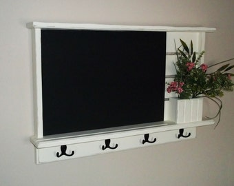 chalkboard, wall shelf, shabby distressed chic  furniture chalkboard, chalk board ,key holder. mail holder, message board, shabby chalkboard