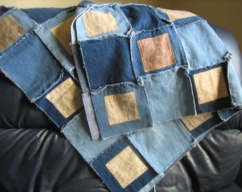 Baby Quilt  or Lap Throw Blanket LATTE colors -  medium weight - made from Upcycled Jeans