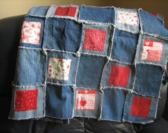 Lap Quilt or BABY quilt REDWORK colors quilt squares made from upcycled Jeans material