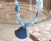 Blue Chrysocolla Gemstone Necklacet and Earring Set With large Focal