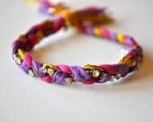 Pink Purple Gold Rhinestone Braided Friendship Bracelet