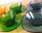Vintage Vereco Mod Tea Coffee Cups and Saucers