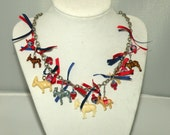 Cracker Jack Charm Necklace-Red White And Blue Donkeys With Beads and Silk Ribbon