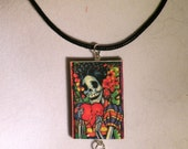 Day of The Dead Colorful Polymer Clay Pendant Necklace