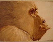 Portrait of a Gorilla - Light brown ape - Free shipping Etsy