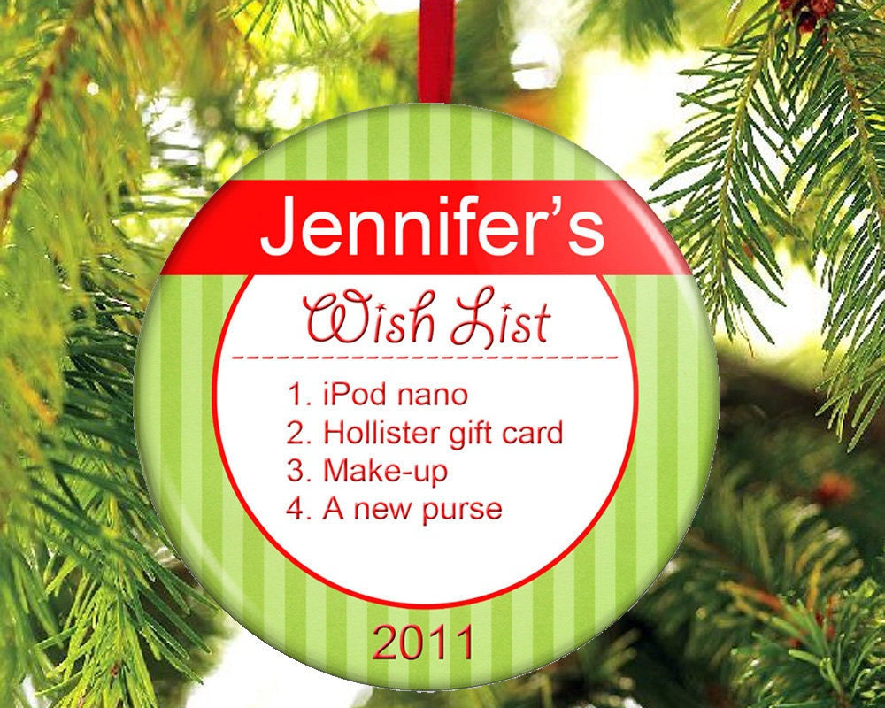 Wish list for santa christmas ornament by theonestopbuttonshop List of christmas ornaments
