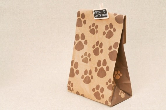 10 paw print bags - kraft paper bags with dog or cat pet paw print
