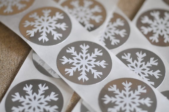 silver snowflake sticker seals - pack of 20
