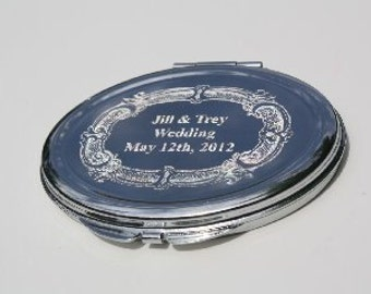Engraved Mirror 3 Compact Bridesmaid Gift Wedding Engrave Your Own Photo and Text New personalized gift