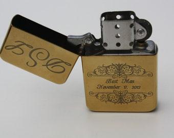 ENGRAVED LIGHTER Wind Proof Fliptop Brass Photo Engraved Custom Personalized Wedding Groomsmen Bridesmaid