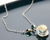 Tea cup necklace: Pretty necklace handmade with a dolls teacup pendant, vintage beads, sterling silver, everyday jewelry