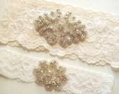 Wedding Garter Bridal Garter IVORY GARTER SET - Light Ivory Lace Garter Double Rhinestone Clusters